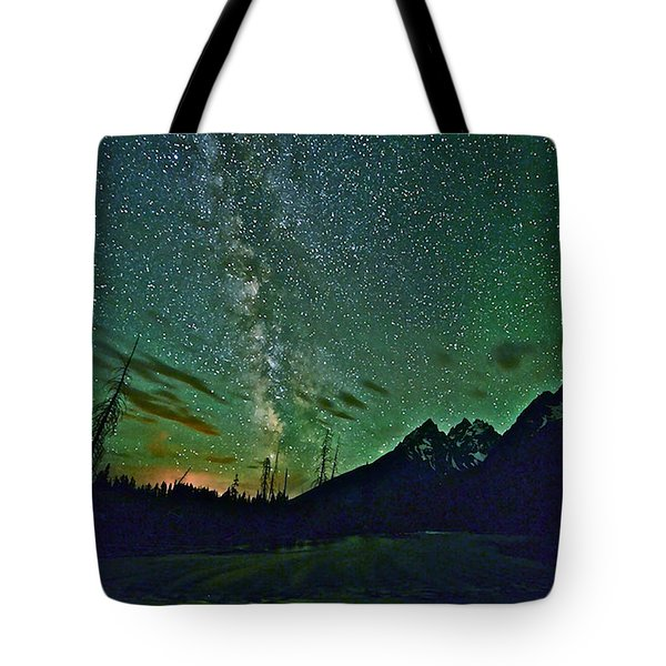 Starry Night Over The Tetons Tote Bag