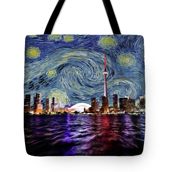Tote Bag featuring the painting Starry Night Toronto Canada by Movie Poster Prints