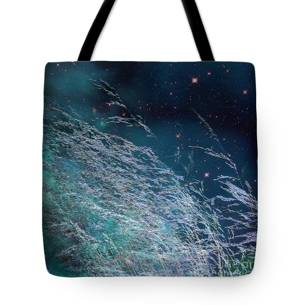 Tote Bag featuring the photograph Starry Sky Grass by Yulia Kazansky