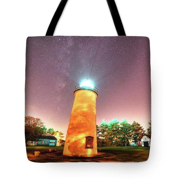 Starry Sky Over The Newburyport Harbor Light Tote Bag
