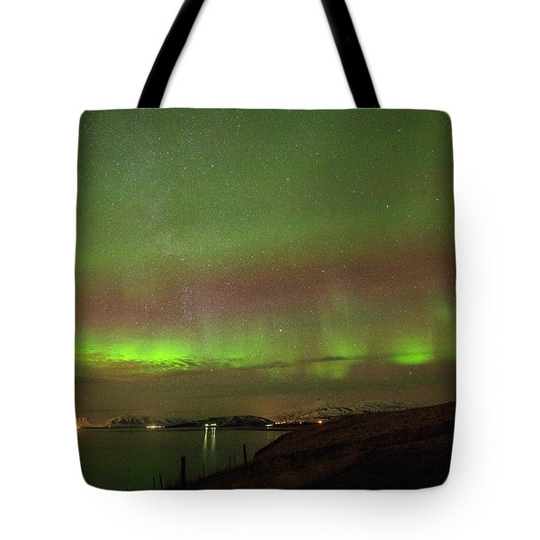 Stars And Northern Lights Tote Bag