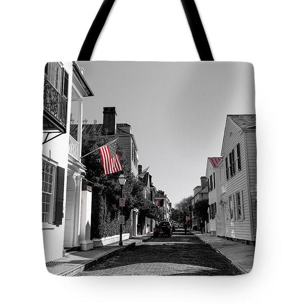 Stars And Stripes- Church St Charleston Sc Tote Bag