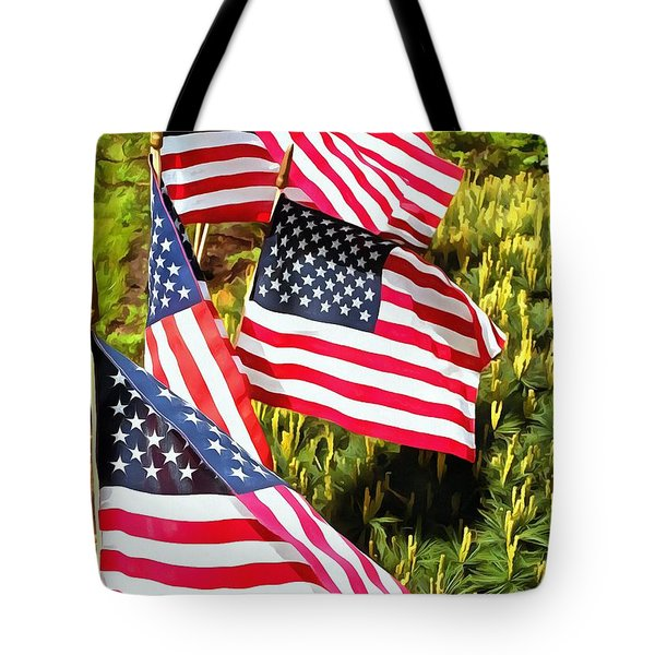 Stars And Stripes Tote Bag by Janine Riley
