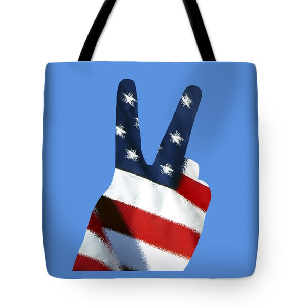 Tote Bag featuring the photograph Stars And Stripes Peace Sign .png by Al Powell Photography USA