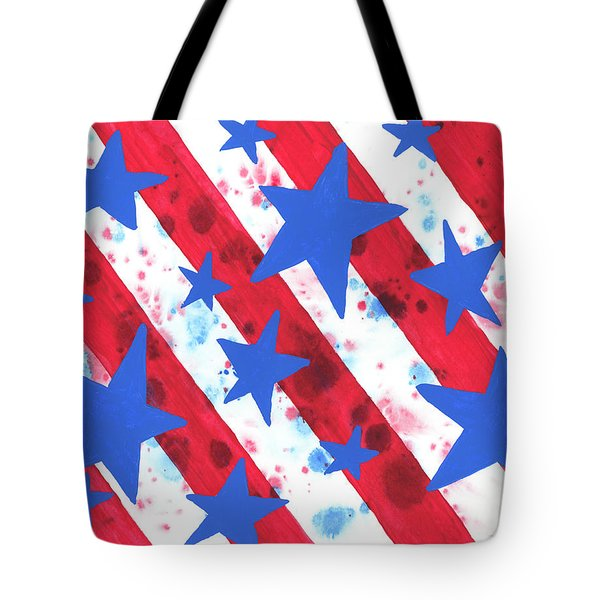 Tote Bag featuring the painting Stars And Strips  by Darice Machel McGuire