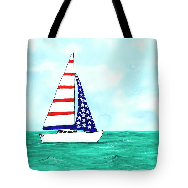 Tote Bag featuring the painting Stars And Strips Sailboat by Darice Machel McGuire