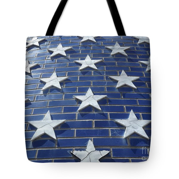 Stars On Blue Brick Tote Bag by Erick Schmidt
