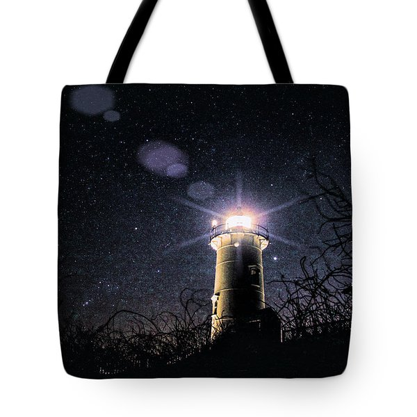 Tote Bag featuring the photograph Stars Over Nobska Lighthouse by Jeff Folger