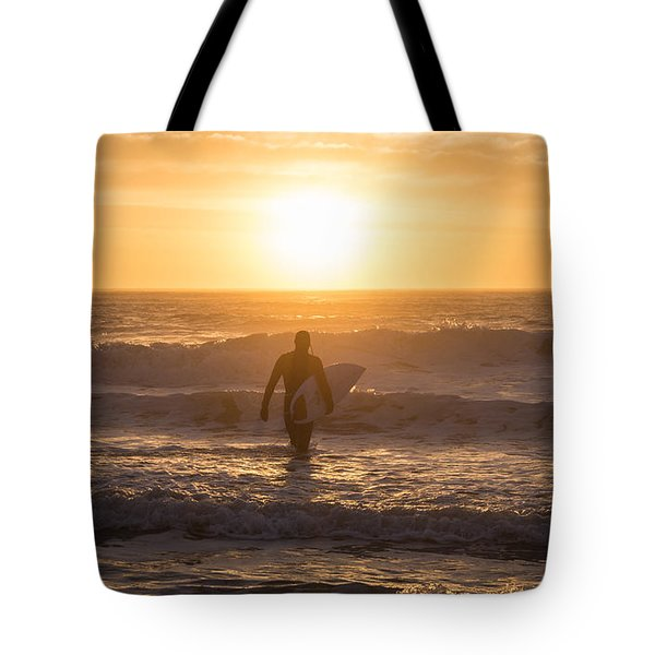 Start The Day Surfing Tote Bag