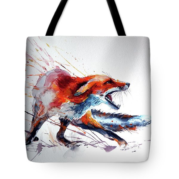Startled Red Fox Tote Bag