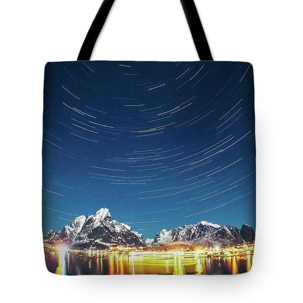 Startrails Above Reine Tote Bag
