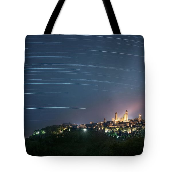 Startrails Over San Gimignano Tote Bag