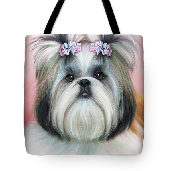 Tote Bag featuring the painting Stassi The Tzu by Catia Lee