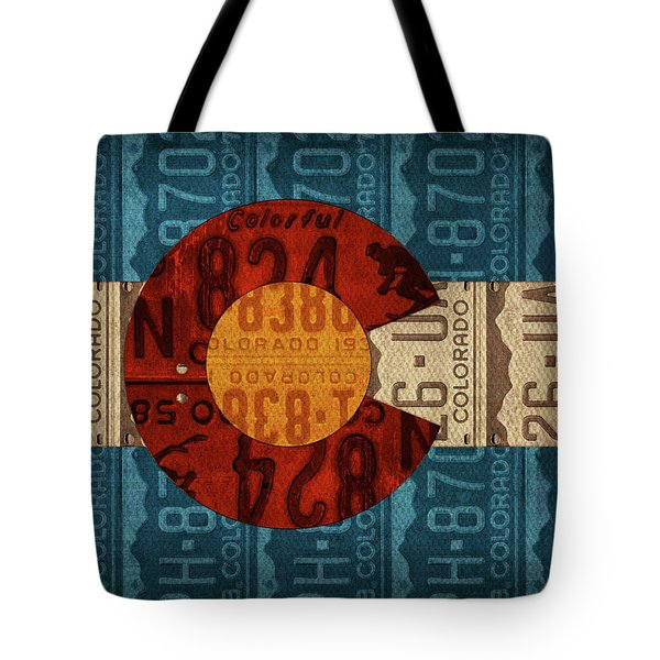 State Flag Of Colorado Recycled License Plate Art Tote Bag by Design Turnpike