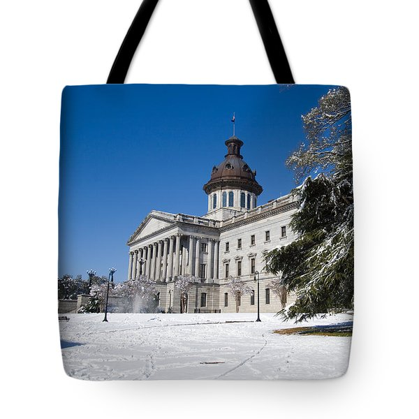 Tote Bag featuring the photograph State House Snow In Color by Joseph C Hinson Photography