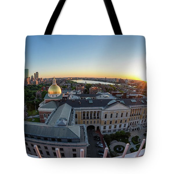 Tote Bag featuring the photograph State House,fisheye View by Michael Hubley