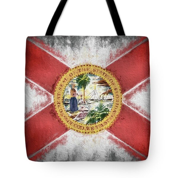 Tote Bag featuring the digital art State Of Florida Flag by JC Findley