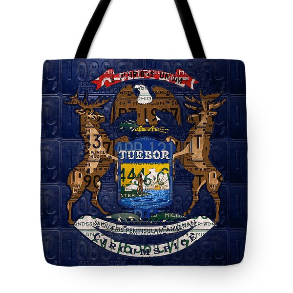 State Of Michigan Flag Recycled Vintage License Plate Art Version 1 Tote Bag by Design Turnpike