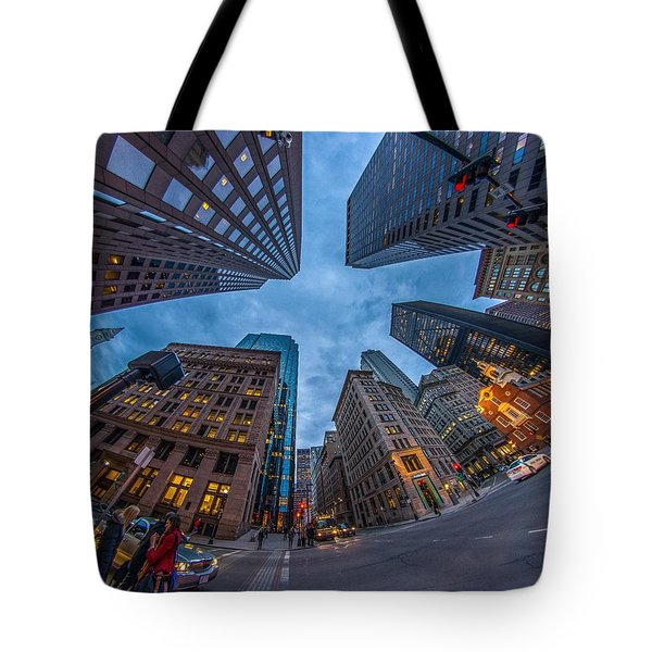 State Street Look Up Boston Ma Tote Bag