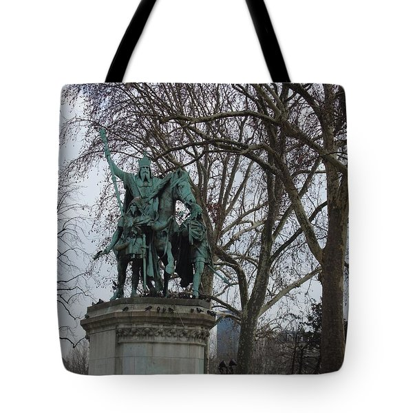 Statue At Notre Dame Tote Bag by Roxy Rich