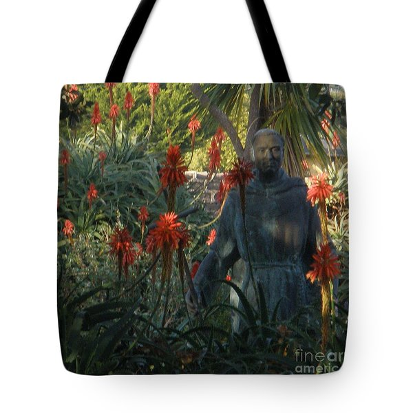 Statue In The Garden  Tote Bag