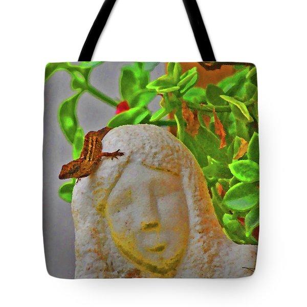 Statue Lizard  Tote Bag