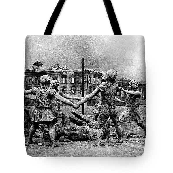 Statue Of Children After Nazi Airstrikes Center Of Stalingrad 1942 Tote Bag