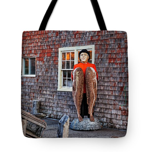 Statue Of Fisherman Holding Cod Peggy's Cove Tote Bag