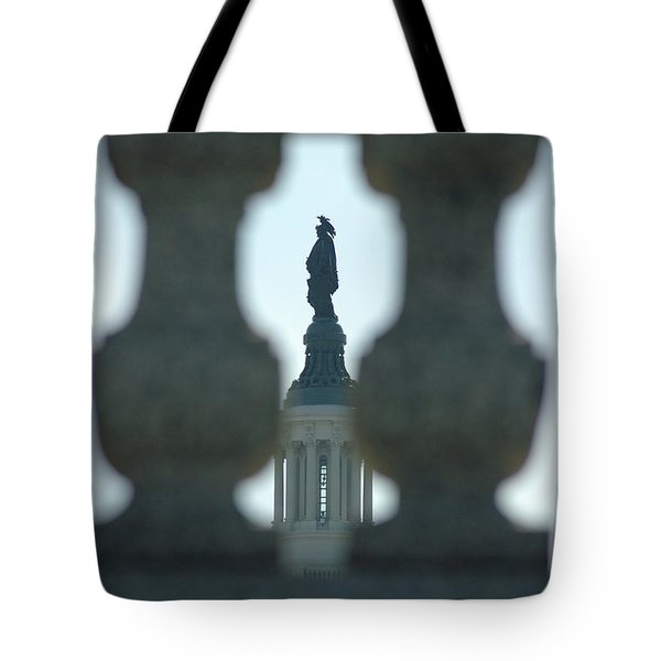 Statue Of Freedom Through Railing Tote Bag