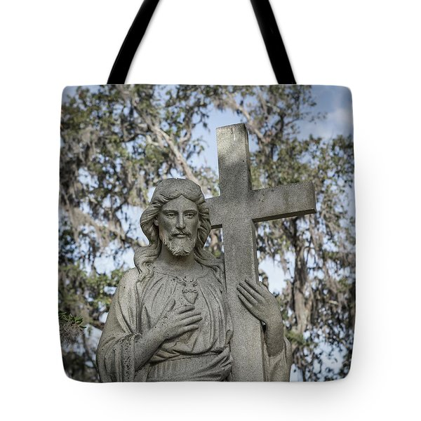 Tote Bag featuring the photograph Statue Of Jesus And Cross by Kim Hojnacki