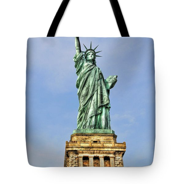 Statue Of Liberty Front View Tote Bag by Randy Aveille