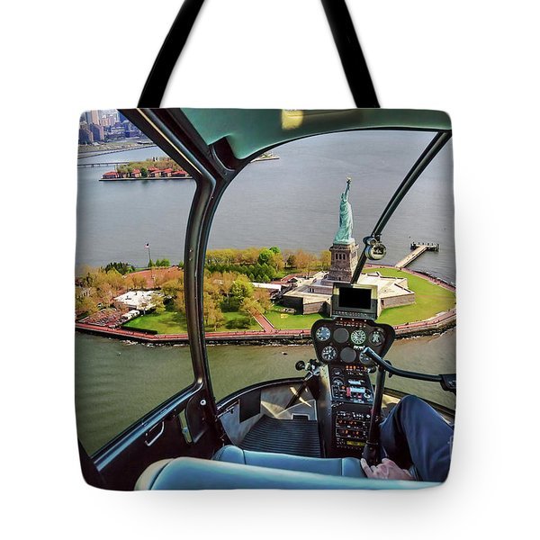 Statue Of Liberty Helicopter Tote Bag