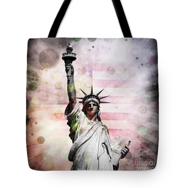 Tote Bag featuring the digital art Statue Of Liberty by Phil Perkins