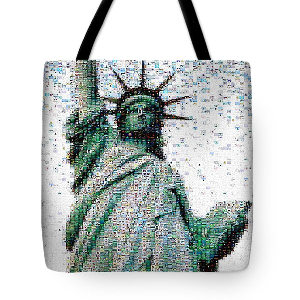 Statue Of Liberty Photo Mosaic Tote Bag by Wernher Krutein