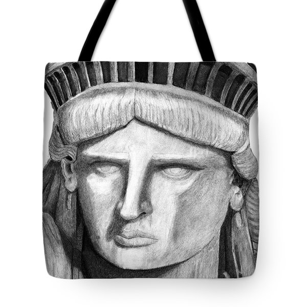 Tote Bag featuring the digital art Statue Of Liberty Selfie by Terry Cork