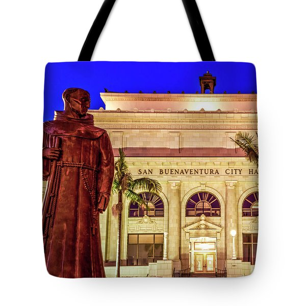 Tote Bag featuring the photograph Statue Of Saint Junipero Serra In Front Of San Buenaventura City Hall by John A Rodriguez