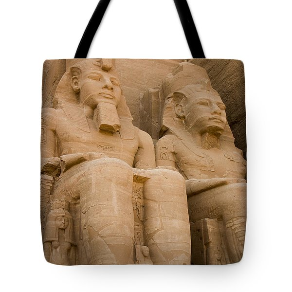 Statues At Abu Simbel Tote Bag by Darcy Michaelchuk