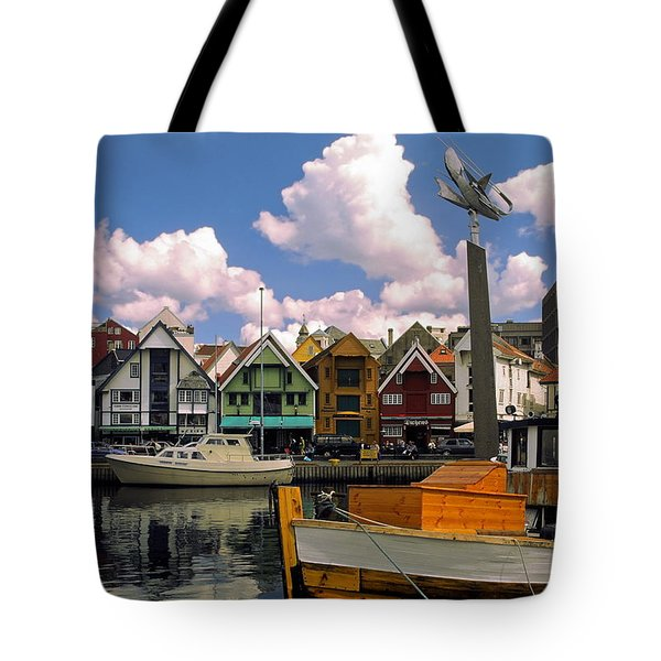 Stavanger Harbor Tote Bag by Sally Weigand
