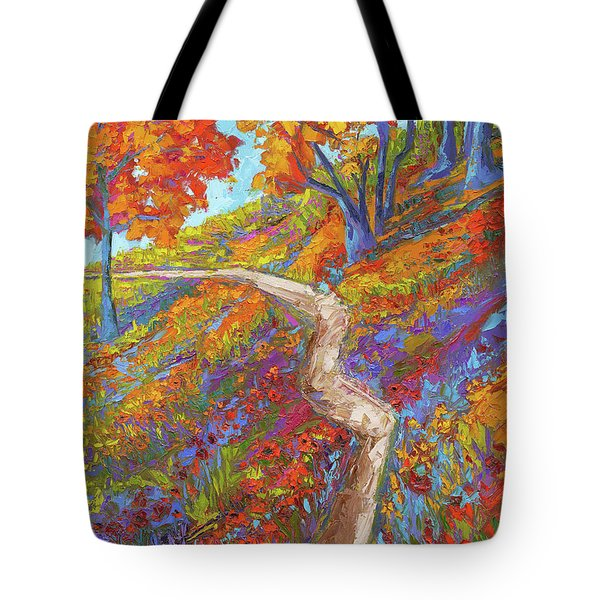 Tote Bag featuring the painting Stay On The Path - Modern Impressionist, Landscape Painting, Oil Palette Knife by Patricia Awapara