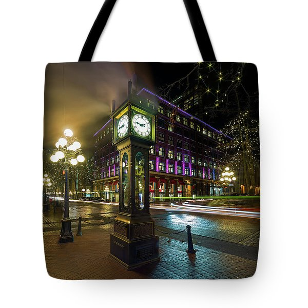 Steam Clock In Gastown Vancouver Bc At Night Tote Bag