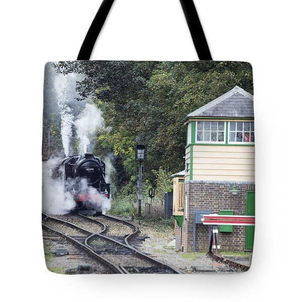 Steam Engine Approaching Alton Tote Bag
