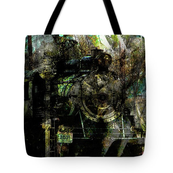 Steam Engine At Bay Tote Bag by Robert Ball