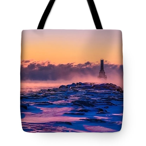 Steam Fog Two Panorama Tote Bag