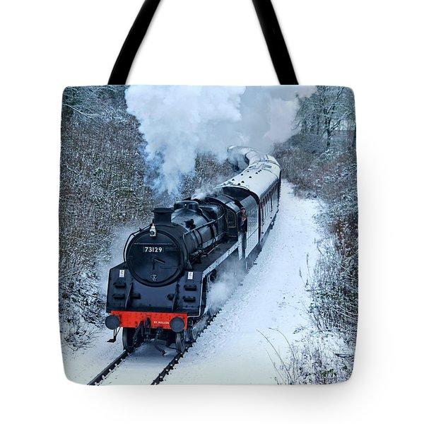 Steam Locomotive 73129 In Snow Tote Bag