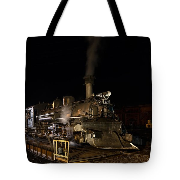 Locomotive And Coal Tender On A Turntable Of The Durango And Silverton Narrow Gauge Railroad Tote Bag by Carol M Highsmith