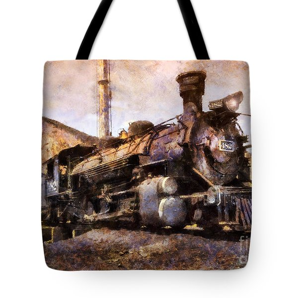 Tote Bag featuring the digital art Steam Locomotive by Ian Mitchell