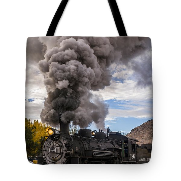 Tote Bag featuring the photograph Steam Locomotive by Jerry Cahill
