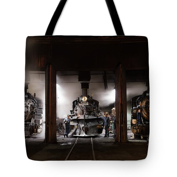 Steam Locomotives In The Roundhouse Of The Durango And Silverton Narrow Gauge Railroad In Durango Tote Bag by Carol M Highsmith
