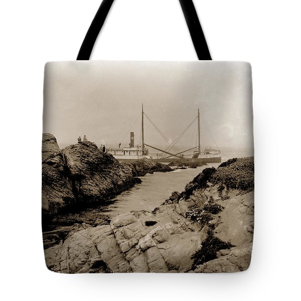 Steam Schooner S S J. B. Stetson, Ran Aground At Cypress Point, Sep. 1934 Tote Bag
