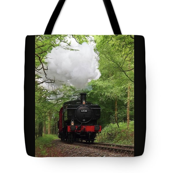 Steam Train Approaching In The Forest Tote Bag by Gill Billington